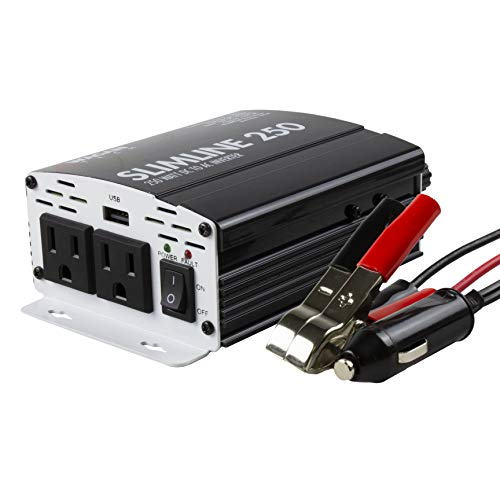 Wagan 3714 250W Slim Line AC to DC Inverter 250W TrueRated 500W Surge Power Inverter