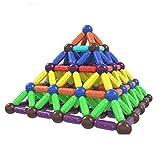 64個の磁気ビルディングブロックセット - 少年少女のための3Dクリエイティブマグネットスティック建設教育玩具 - ベストギフト