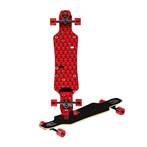 Xhtoe 8-lagiges Deck Aus Hartem Ahorn 8-lagiger Ahorn Allround Longboard Brilliant Luminous Wheels Skateboard Nutzlast 100kg Concave Cruiser Skeleton Skateboard Mit Doppelbodendeck