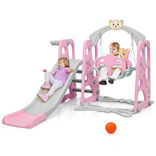 COSTWAY 4 in 1 Kinder Spielplatz, Kinder Rutsche & Schaukel & Basketballkorb & Leiter, Schaukelgerüst, Gartenschaukel, Kinderschaukel, Rutschbahn, Kinderrutsche für In- und Outdoor (Rosa)