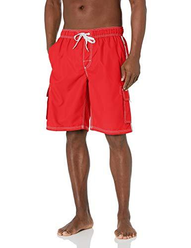 Kanu Surf Men's Barracuda Swim Trunks (Regular & Extended Sizes), Red, Large