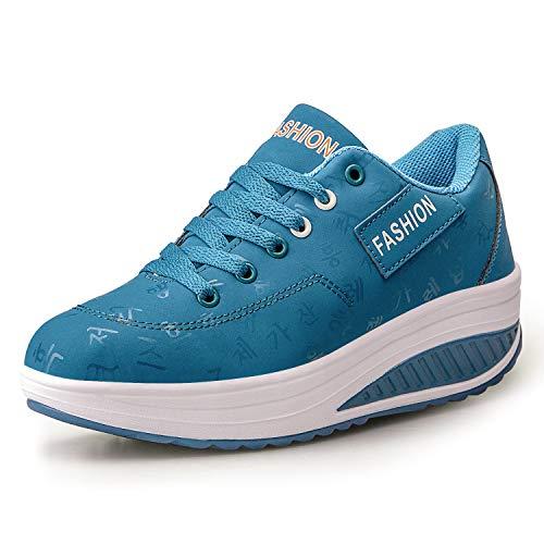 Dames Afslankende Wandelschoenen Fitness Wedges Plateauzolen Sneakers(40 EU,Blauw)