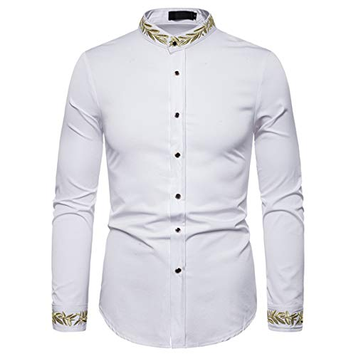 Tops Men Shirt Men Business Casual Comfortable Stand Collar Men Tops Autumn New Slim Long Sleeve Temperament Fashion Design Wedding Party Men Shirts A-White S
