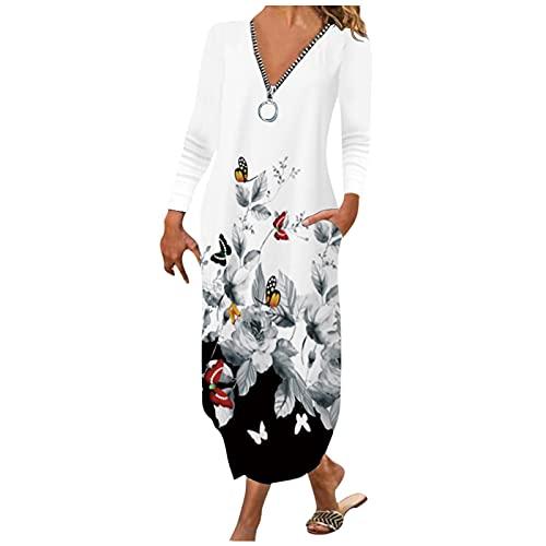 ZiSUGP Vestito Lungo Donna Autunno in Moda Abiti Premaman per Gli Invitati al Matrimonio Vestito Donna Autunno Corto Bianco Nero L