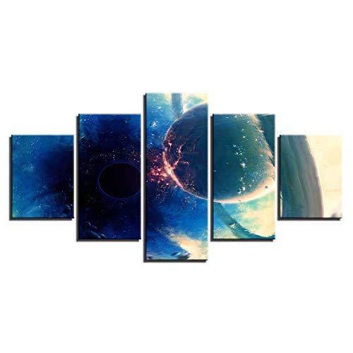 FGVBWE4R Modern Home Wand Kunst Dekor Rahmen Bilder 5 Stück Planeten Collision Schwarzlicht Ball Abstrakt Landschaftsmalerei Leinwand Poster-XXL