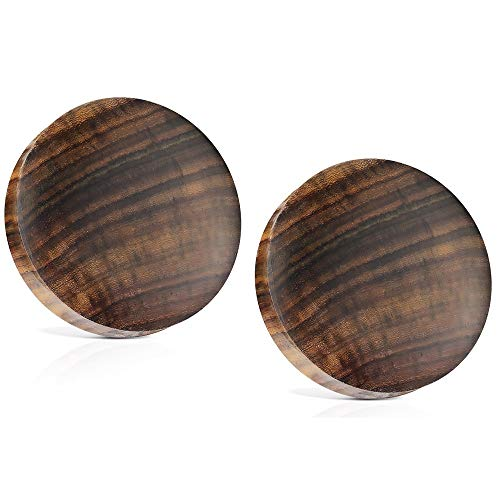 """Pierced Owl Sono Wood Saddle Fit Solid Organic Ear Plugs Gauges, Sold As Pair (25mm - 1"""")"""