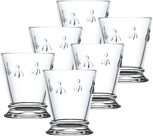 Napoleon Bee Tumblers Set Of 6 - 10 oz - Clear Glass Tumbler w/ The French Bee Embossed Design - Fine French Glassware, Drinking Glasses, Heavy Water Glasses, Dishwasher Safe Juice Glasses