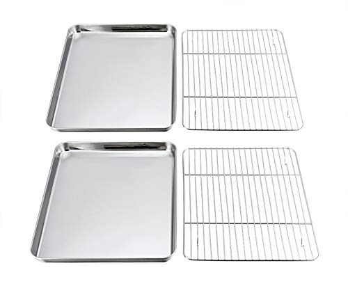 P&P CHEF Baking Sheets and Racks Set (2 Sheet + 2 Rack), Stainless Steel Baking Pan Cookie Sheet with Cooling Rack, Size 16''x12''x1'', Non Toxic & Healthy & Easy Clean