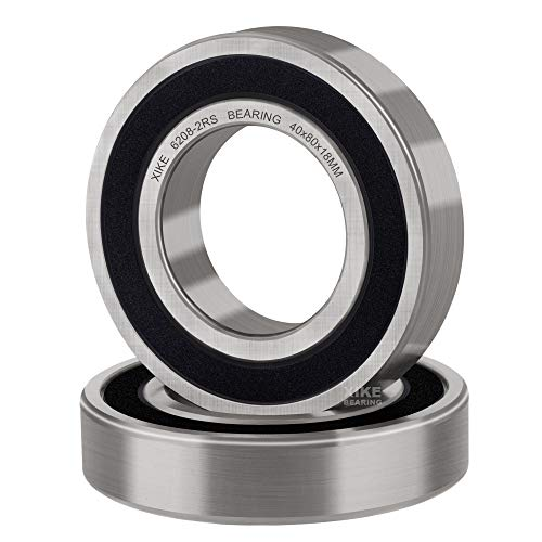 XiKe 2 Pcs 6208-2RS Double Rubber Seal Bearings 40x80x18mm, Pre-Lubricated and Stable Performance and Cost Effective, Deep Groove Ball Bearings.