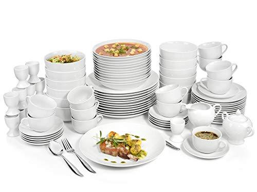 Sänger Tafelservice New Port 86 teiliges Geschirr-Service für 12 Personen aus Porzellan, Speise-, Dessert- und Suppenteller, Schalen, Tassen, Untertassen, Zuckerdose, Milchkännchen erweiterbar