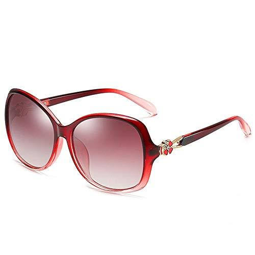 NgMik Gafas De Sol Polarizadas De Las Mujeres Gafas De Sol Polarizadas del Trébol Perla Pasta De Conducción Gafas De Sol De Compras Clásico (Color : Red, Size : One Size)