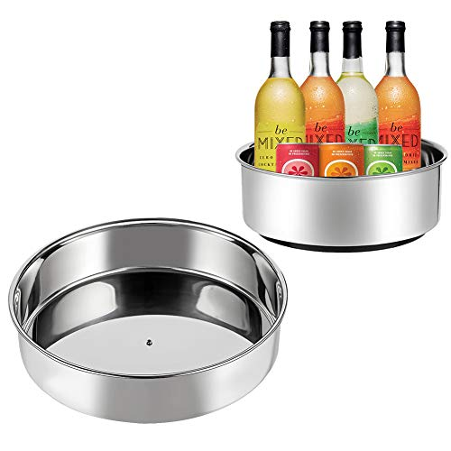 MOKARO Lazy Susan Turntable Kitchen Storage Organizer for Can or Seasonings Multifunctional Stainless Steel Organizer for Fridge or Cabinet360 Rotating Cosmetic Organizer - Pack of 2