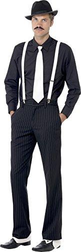 Smiffy's Smiffys-23083 Kit instantáneo de gánster, con tirantes, corbata, sombrero, polainas y bigote, color negro y blanco, Tamaño único 23083