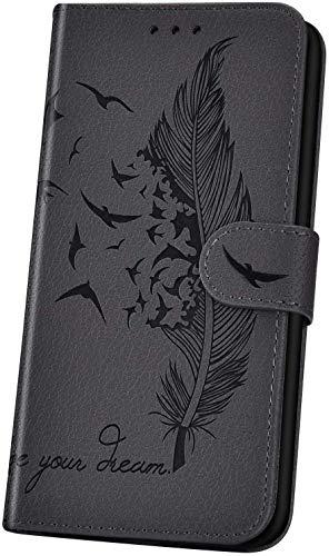 JAWSEU Handyhülle für LG K50 Hülle,Geprägt Feder Vogel Muster Schutzhülle Brieftasche PU Leder Tasche Handyhülle Lederhülle Flip Hülle Wallet Tasche Handytasche,Grau