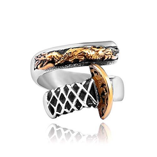 TYV Heren Draak Mes Ring, Titanium Staal vergulde Open Ring, 24K Goud, Verstelbare grootte
