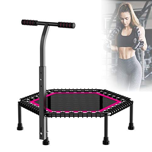 Ycrdtap Fitness Trampoline for Adults, 50' Rebounder Bounce Workout with 3 Height Adjustable Handrail, Best Aerobic Exercise Fitness Equipment,Red