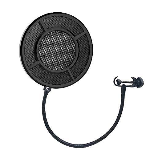 PTWJ Microfoon Wind-Paraplu Kno-Filter ronde vorm Mic Wind Masker Schild-scherm Double-Layer-Metal Mesh Zwart Karaoke-Player-luidspreker