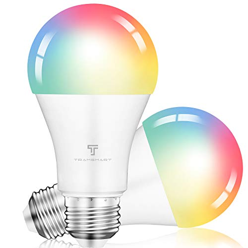 Alexa Smart Light Bulbs,Music Sync RGBCCT Color Changing WiFi Light Bulb Dimmable,Work with Google Home,A19,E26,800 Lumens,9W Equivalent 60W,2.4Ghz WiFi Only,No Hub Required,TRAMSMART 2 Pack