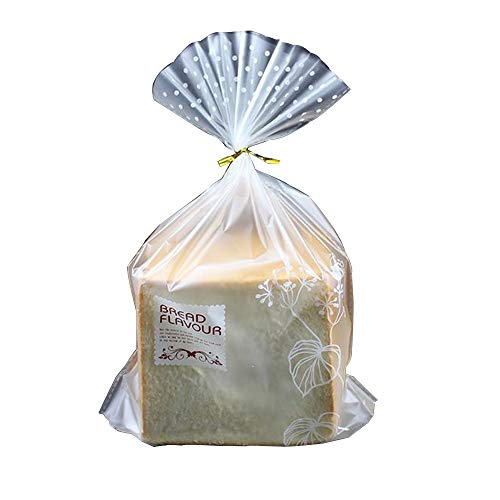 Bread Poly Bags – Pack of 100 Entirely Transparent Clear Bakery Bags – Bread Loaf Packing Bags with 100 Gold Twist Ties – Clear Thick Gussted Grocery Bakery Bags for Homemade Bread 9x3x12'