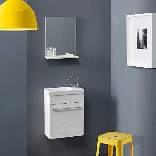 Kiamami Valentina badkamerkast, wit eiken, voor kleine ruimtes