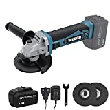 Angle Grinder, WESCO 18V 4.0Ah Cordless Angle Grinder, 8000 RPM Motor, 3 Metal Grinding Discs Ø: 115mm, with Additional Handle, Battery and Charger, Ideal for Carpenters, Builders, Electricians
