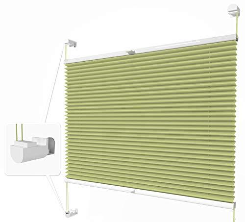 Home-Vision® Plissee Faltrollo ohne Bohren mit Klemmträger / -fix (Grün, B25cm x H100cm) Thermoplissee Sonnenschutz Jalousie für Fenster & Tür
