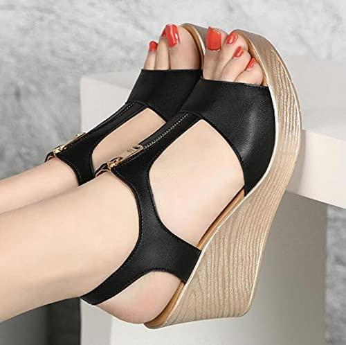 DZQQ 2021 été Femmes Sandales Plate-Forme Sandales compensées Femmes Fermeture éclair Solide Chaussures d'été Gladiateur Sandales Grande Taille 32-43