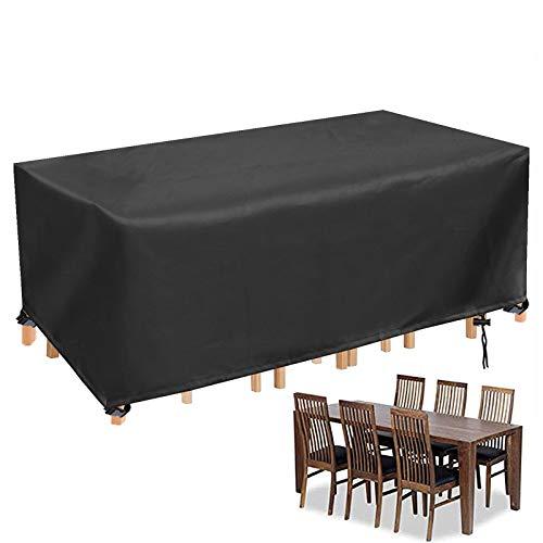 YUYO Fundas Jardin Exterior, Protectora Muebles Jardin Rectangular Fundas Oxford para Muebles de Mesa Exterior, Cubre Muebles Exterior 242x182 x 100cm - Negro