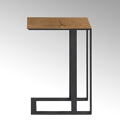 Lambert Louis Eisen Beistelltisch 43x30 H61 cm, Metall, Graphit, Natur, One Size