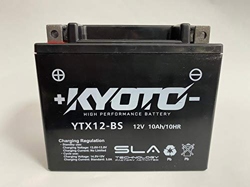Batería moto Kyoto SLA AGM YTX12-BS Pronta all'uso - compatible con Aprilia Scarabeo Scooter 500 2009-2010