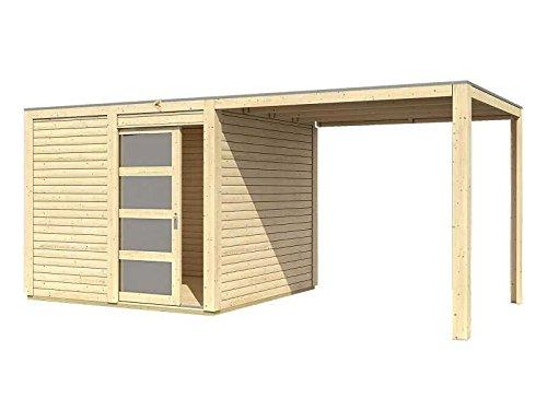 Karibu Gartenhaus Cubini mit Schleppdach natur mit selbstklebender Dachbahn