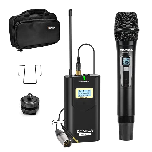 Comica CVM-WM100 H UHF 48-Channel Professional Wireless Handhled Microphone System for Canon Nikon Sony Panasonic Fuji DSLR Camera, XLR Camcorder, Smartphone, Perfect for Video Recording/Interview.