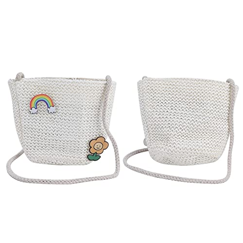 Bolso de playa de verano, bandolera de hombro para mujer, pajita hecha a mano para fiestas, viajes, compras(rainbow)