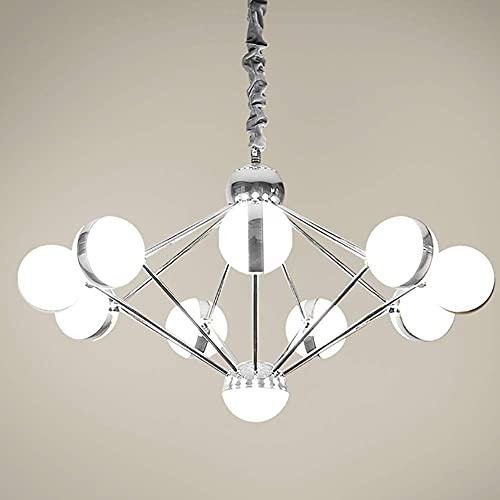 ZRABCD Lámpara Colgante Luz Candelabro Luz de Techo Creative Led Sputnik Island S, Mid Century 9-S Colgante Altura Ajustable Decoración Interior 50W Colgante,Cromo,9 Luces