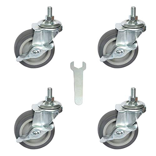 "AAGUT Caster Wheels, 3 Inch Rubber Wheels Heavy Duty, 1/2""-13 x 1"" Threaded Stem Mount Industrial Castors, Locking Metal Swivel Wheel, Replacement for Carts Furniture Dolly Workbench Trolley, 4 Pack"