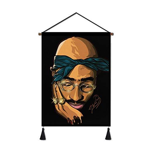 2 pac Hanging Poster R&B Rapper Art Decor Dowel Scroll Wall Decoration Frames Artwork 18x24in