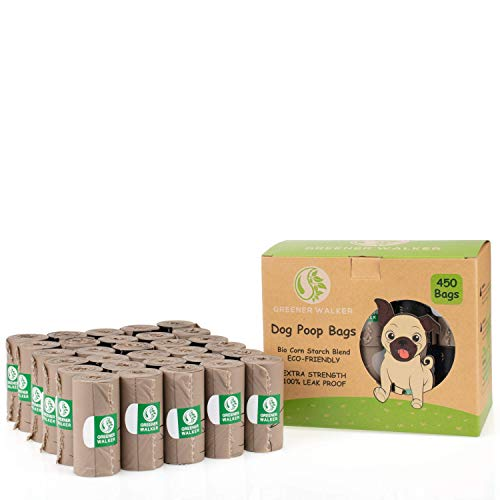Greener Walker Sacs à déjections pour chien – 450 sacs extra épais et résistants 100 % anti-fuites biodégradables pour chien, marron
