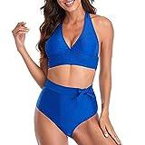 Bikinis para Mujer Sexy Black Solid Color Beach Bikini Weibliche Plus Size Badebekleidung-D_3XL....