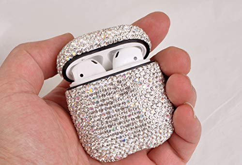 Bling Diamond Airpods Case Cover Glitter Cute Airpod Accessories Compatiable with Apple Airpods 1 2 JIELIELE Airpods Cases Silver
