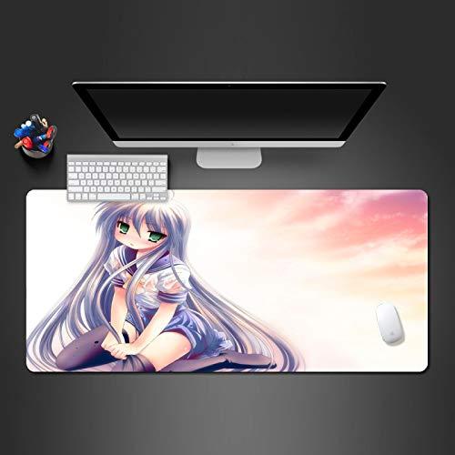 LZDAYK xxl alfombrilla de ratón extendida para juegos 1000x500x3mm linda chica anime alfombra de mesa de juego de extensión de gran tamaño alfombrilla de goma antideslizante con borde de costura alfom