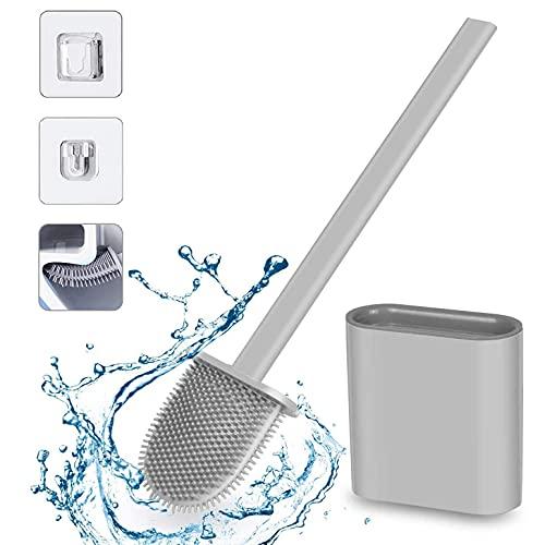 Escobillas WC, Escobilla de Baño Silicona y Soporte para Inodoro, Escobilla WC Silicona con Secado Rápido de Montaje en Suelo o Montaje en Pared, Gris