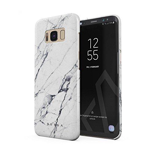 BURGA Hülle Kompatibel mit Samsung Galaxy S8 - Handy Huelle Licht Weiß Marmor Muster White Marble Mädchen Dünn Robuste Rückschale aus Kunststoff Handyhülle Schutz Case Cover