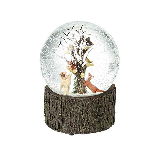 Heaven Sends Schneekugel mit Waldmotiven auf dekorativem Sockel in Holzoptik
