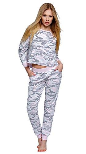 SENSIS modischer Baumwoll-Pyjama Schlafanzug Hausanzug aus lässigem Shirt und gemütlicher Hose, Made in EU (S (36), Rosa/Grau mit Camouflage-Muster)