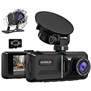 Kingslim D1 Dual Dash Cam with Built-in GPS, 1080P Front and Rear Dash Camera for Cars, Parking Emergency & Security Monitoring, Motion Detection, 3.16'' IPS Wide Screen, 170° FOV, 32GB Card Included