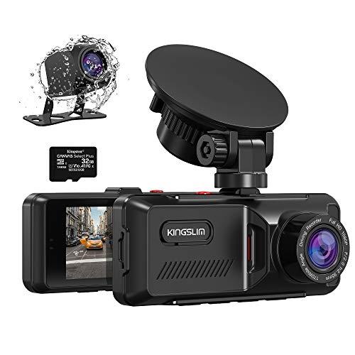Kingslim D1 Dual Dashcam mit integriertem GPS, 1080P Front- und Heckkamera für Autos, Parkplatz-Not- und Sicherheitsüberwachung, Bewegungserkennung, 3,16 Zoll IPS Breitbildschirm, 170° Sichtfenster, 32 GB Karte im Lieferumfang enthalten