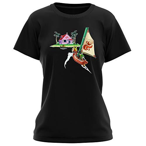 T-Shirt Femme Noir Parodie Dragon Ball Z - Zelda - Link et la Kame House - La découverte d'une Nouvelle île. (T-Shirt de qualité Premium de Taille XL - imprimé en France)