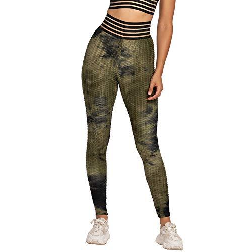 Qbesio Mujeres Tie-Dye Transpirable Hip Lifting Ejercicio Burbuja Pantalones de Yoga Entrenamiento De Cintura Alta para Mujer