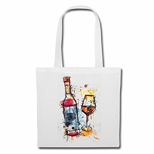 Tasche Umhängetasche Rotwein WEINGLAS Vintage WEIßWEIN SCHORLE Wein Lifestyle Fashion Street WEAR Hiphop Legendary Salsa Einkaufstasche Schulbeutel Turnbeutel in Weiß