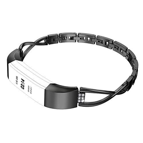 Wearlizer für Fitbit Alta HR Armband, Metall Ersatzband Band Armbänder Uhrenarmband für Fitbit Alta/Fitbit Alta HR (Schwarz)